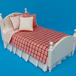 White Single Bed - Red Check Bedding