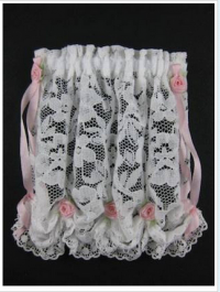 White Lace Balloon Shade - Rose Accents